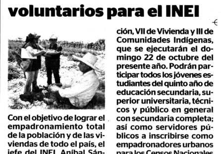 Convocatorias de voluntarios para el INEI