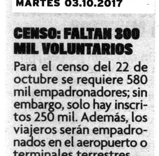 Censo: Faltan 300 mil voluntarios